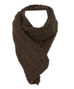Foulard alpaga petit gaufré de luxe brun