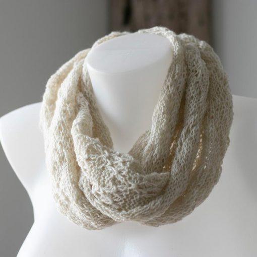 foulard alpaga infini léger printanier blanc naturel