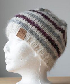 Tuque alpaga blanche rayée rose violet et gris