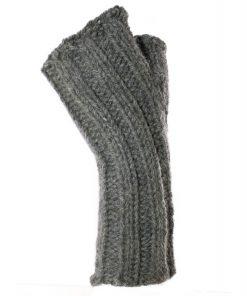 Chauffe-poignet en alpaga gris avec côtes - ribs