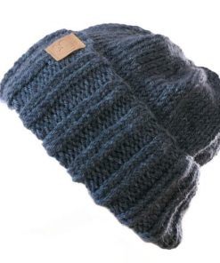 Tuque alpaga collection Fortran à rebord bleu jeans