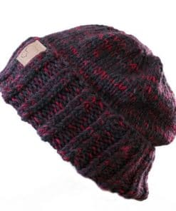 Tuque en alpaga à rebord rouge moucheté collection Fortran