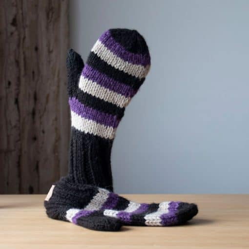 Mitaine alpaga rayée violet, noire, blanc naturel