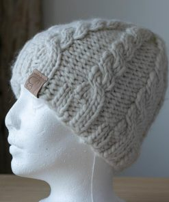 Tuque alpaga torsades Arizona en fil type lopi blanc naturel