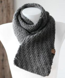 Foulard alpaga diagonale gris moyen