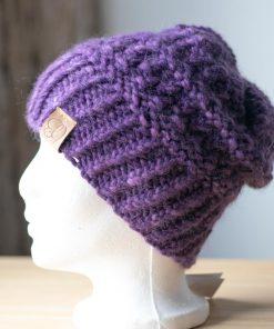 Tuque alpaga du nord violet teint à la main