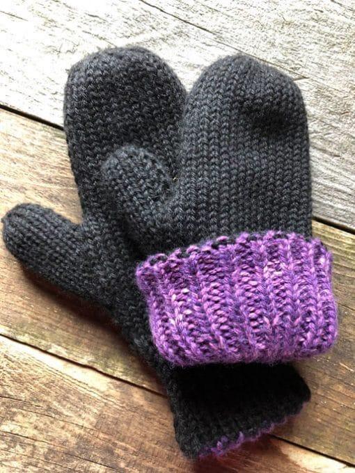 mitaines en alpaga double chaude noir violet réversible