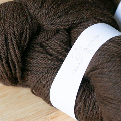 Fil d'alpaga à bas DK brun foncé (couleur naturelle, sans teinture)