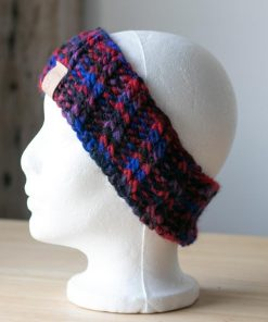 Bandeau alpaga rouge bleu violet et noir (teint à la main)