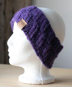 Bandeau alpaga violet teint à la main