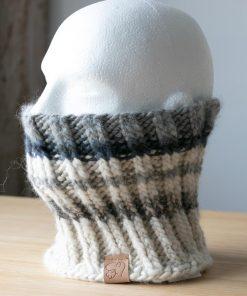 Cache-cou alpaga blanc naturel gris (tons) (couleurs naturelles) et bleu jeans (teint à la main)