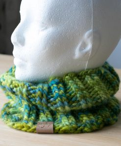 Cache-cou en alpaga vert bleu teal (teint à la main)