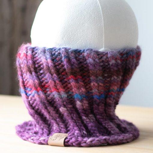 Cache-cou alpaga mauve multicolore teint à la main