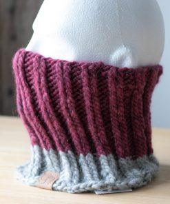 Cache-cou alpaga rose et gris clair