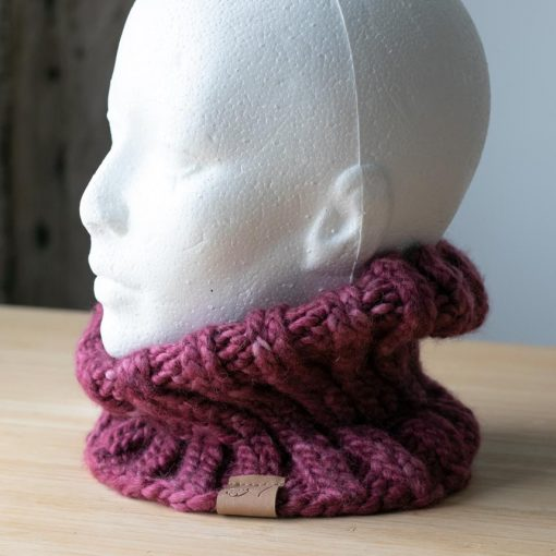 Cache-cou alpaga rose version 2 (teint à la main)