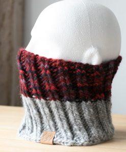 Cachje-cou alpaga rouge violacé et gris clair
