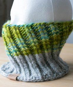 Cache-cou alpaga vert bleu teal (teint à la main) et gris (couleur naturelle non teinte