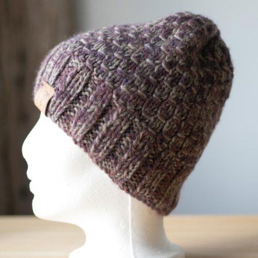 Tuque alpaga rosegris médium et violet teint à la main