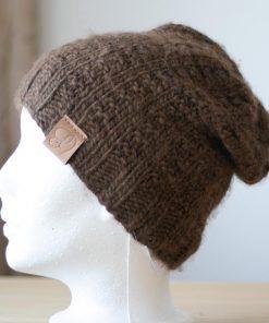 Tuque alpaga simplicité brun clair couleur naturelle non-teint