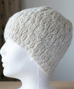 Tuque d'alpaga tricot blanc naturel xsmall