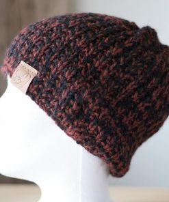 Tuque alpaga orange brûlé et noir médium teint à la main