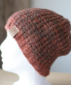 Tuque alpaga tricot orangé (teint à la main) s et fauve (couleur naturelle)