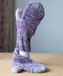 Mitaines alpaga violet et gris clair